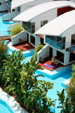 Modern villas with swimming pool at luxury hotel Stock Photography