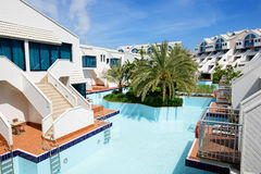 Modern villas with swimming pool at luxury hotel. Antalya, Turkey Royalty Free Stock Image