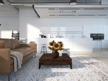 Modern vind med ett kök framförande 3d Arkivbilder