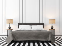 Modern vintage bedroom with black and white 3d rendering image. Royalty Free Stock Images