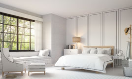 Modern vintage bedroom with black and white 3d rendering image. Stock Images