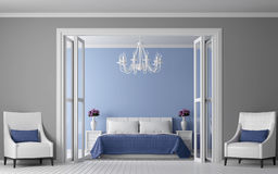 Modern vintage bedroom interior 3d rendering image Royalty Free Stock Images