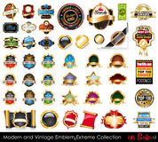 Modern and Vintage Emblems Extreme Collection. Big variety of emblems,  vintage labels and sticker to use for advertise or food or bottle packaging Stock Photos