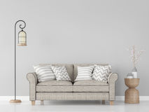 Modern vintage living room interior 3d rendering Image. There are minimalist style image ,gray empty wall and light brown sofa Royalty Free Stock Image