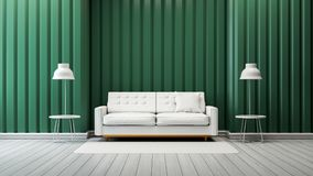 Modern vintage living room  interior design,white sofa and lamp with green wall  /3d render. Modern vintage living room  interior ,white sofa and lamp with green Stock Photography
