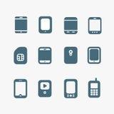 Modern and vintage mobile gadgets stock illustration