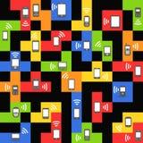Modern and vintage mobile gadgets on color blocks stock illustration