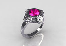 Modern vintage platinum diamond pink sapphire ring Stock Images