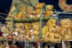Modern and Vintage Teddy Bears for sale. Cuddly and soft modern and vintage teddy bears for sale on one of the stalls at the Victorian Christmas Market in the royalty free stock photo