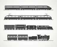 Modern and vintage train silhouettes stock illustration