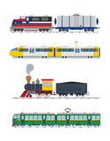 Modern and vintage trains vector collection Stock Image