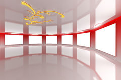 Modern virtual Gallery red Stock Images