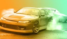 Modern vision of the photo drift racing car with the imposition of a unique effect. Modern vision of the photo drift racing car with the imposition of a unique stock photography