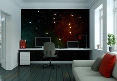 Modern vit inrikesdepartementet med tolkningen för soffainredesign 3d Arkivbild