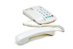 Modern vit telefon för affärskontor Arkivfoto