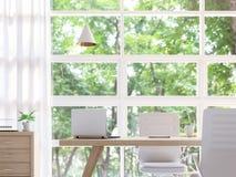 Modern vit tolkningbild för funktionsdugligt rum 3d Royaltyfri Foto