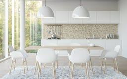Modern vit tolkningbild för matsal 3d Royaltyfria Bilder