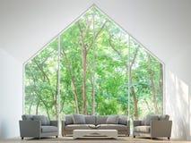 Modern vit tolkningbild för vardagsrum 3d Arkivbild