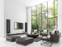 Modern vit tolkningbild för vardagsrum 3d Fotografering för Bildbyråer