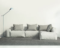 Modern vit vardagsrum Arkivbilder