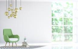 Modern vit vardagsrum med grön tolkningbild för fåtölj 3d Royaltyfria Bilder