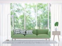 Modern vit vardagsrum med grön tolkningbild för soffa 3d Arkivbild