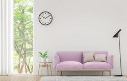 Modern vit vardagsrum med pastellfärgad tolkningbild för möblemang 3d Arkivbild