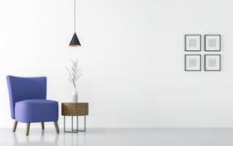 Modern vit vardagsruminre med blå tolkningbild för fåtölj 3d Arkivbild