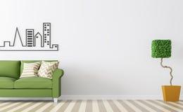 Modern vit vardagsruminre med grön tolkningbild för soffa 3d Royaltyfria Bilder