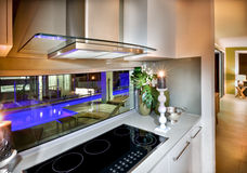 Modern vitroceramic stove in the kitchen at night Royalty Free Stock Photo