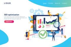 Modern vlak het ontwerp isometrisch concept van de Seooptimalisering Zoekmachine en mensenconcept Landend Paginamalplaatje stock illustratie