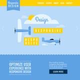 Modern vlak vectorwebsitemalplaatje met vliegtuigen Stock Foto's