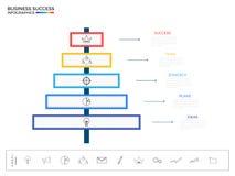 Modern voorzie infographicselementen van wegwijzers Succesvol bedrijfsconcepten infographic malplaatje Stock Afbeeldingen