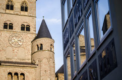 Modern vs old architecture, Cathedral of Trier Stock Photos