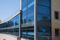 Modern vuilding with blue windows Royalty Free Stock Image