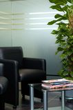Modern waiting room. Image showing waiting room with plants and modern, leather seats. Modern interior royalty free stock photos