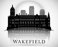 Modern Wakefield City Skyline Design. England Stock Images