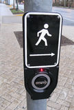 Modern Walk Button Signal. A new style walk button and signal at a cross walk in Silver Spring Maryland royalty free stock photos