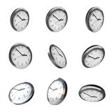 Modern wall clock 3d rotation Stock Image