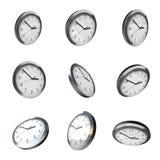 Modern wall clock 3d rotation Stock Image