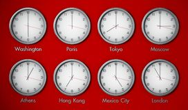 Modern wall clocks showing different time zones of world cities. 3D illustration Royalty Free Stock Photo
