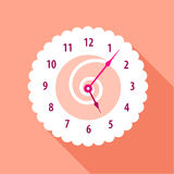 Modern wall numbered clock icon, flat style Royalty Free Stock Photography