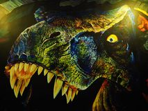 Modern wall. Wall paint and draw dinosaur Royalty Free Stock Photography