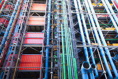 The modern wall of the Pompidou cultural center Royalty Free Stock Images