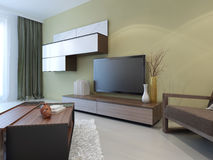 Modern wall system in lounge room interior Stock Images