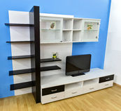 Modern wall unit. Contemporary wall unit for living room Royalty Free Stock Image
