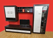 Modern wall unit. Contemporary wall unit for living room stock photography