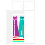 Modern wardrobe. Beautiful clothes in the modern closet vector illustration