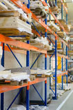 Modern warehouse with colorful interior shelves Royalty Free Stock Photos