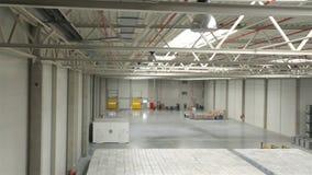 Modern warehouse half empty stock video footage